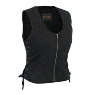 Daniel Smart Mfg Ladies Vest Denim Zip Black