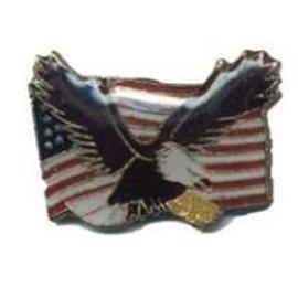Biker's Stuff Pin US Flying Eagle on Flag