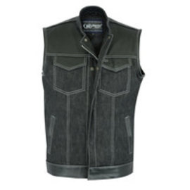 Daniel Smart Mfg Mens Vest Leather/Denim Combo
