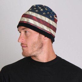 Hot Leather Cotton Beanie American Flag