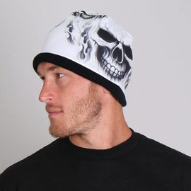 Hot Leather Cotton Beanie White Ghost Skull