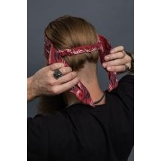 Hair Glove Tired of trying to tie your bandana?  EZ Dana by Hair Glove has taken all the work out of getting your bandana on right.  EZ Dana looks like a bandana that has been pre-folded.  There is a hidden, built-in elastic band that holds the headband in place.