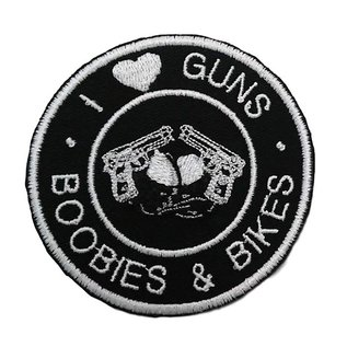First Coast Biker Gear Patch I Love Guns Boobs Bikes 3in