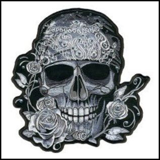 Hot Leather Patch Bandana Skull with Bling 4in