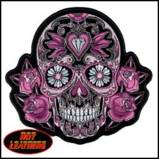 Hot Leather Patch Color Pink Sugar Skull 4in