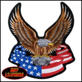 Hot Leather Patch Eagle Banner 3in