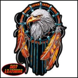 Hot Leather Patch Eagle Dream Catcher 12in
