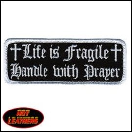 Hot Leather Patch Life Is Fragile 4in Black