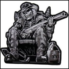 Hot Leather Patch Skeleton Shotgun 9in