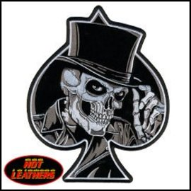 Hot Leather Patch Skull Spade 10 in