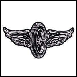 Hot Leather Patch Winged Wheel 10in