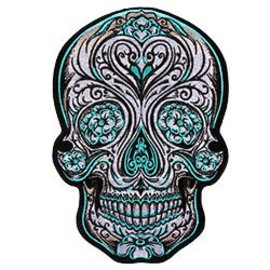 Hot Leather Patch Blue Color Sugar Skull 8in