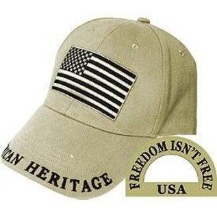 Eagle Emblems Hat American Flag Beige