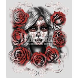First Coast Biker Gear Shirt Skull Girl W/ Roses