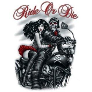 Route 66 Biker Gear Shirt Ride or Die Skeleton & Girl