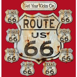 First Coast Biker Gear Shirt Route 66 Aged Signs
