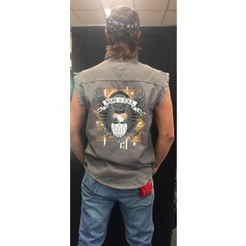Route 66 Biker Gear Sleeveless Denim Eagle Shield Piston