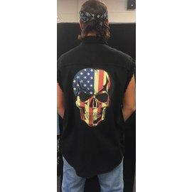 First Coast Biker Gear Sleeveless Denim Patriotic Skull