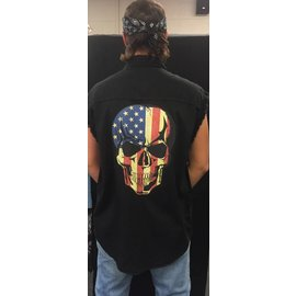 Route 66 Biker Gear Sleeveless Denim Patriotic Skull