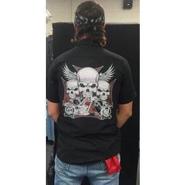 Route 66 Biker Gear Work Shirt Skull Chopper Cross