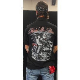 Route 66 Biker Gear Work Shirt Skeleton Couple