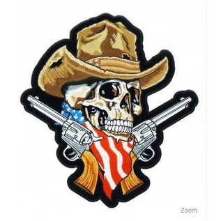 Patch Stop Patch American Cowboy Skull Guns 11in