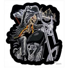 Patch Stop Patch Grim Reaper Motorcycle 12 in