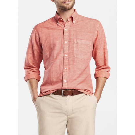 Peter Millar Peter Millar Seaside Garment-Dyed Solid Sport Shirt