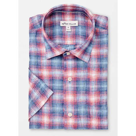 Peter Millar Peter Millar Seaside Coastal Surf Plaid Short-Sleeve Sport Shirt