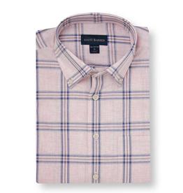 Scott Barber Scott Barber Poplin Melange Check Short Sleeved Shirt