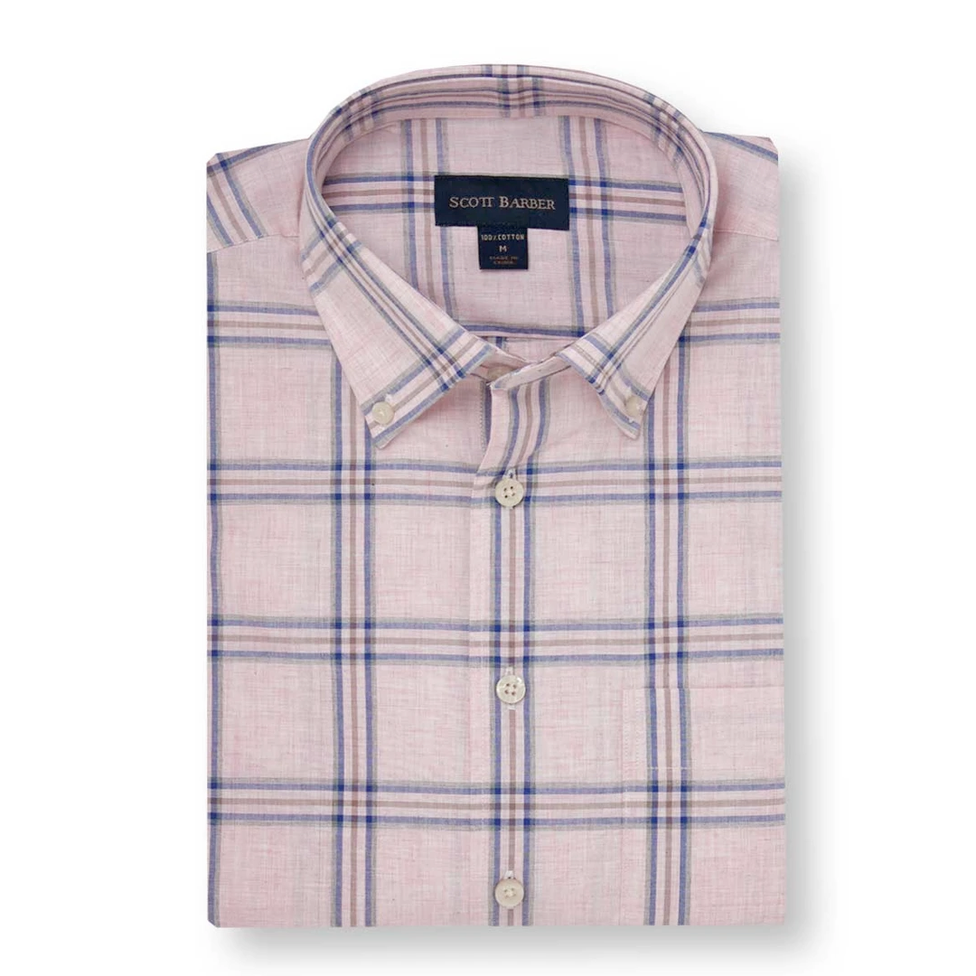 Scott Barber Scott Barber Poplin Melange Check Short Sleeved Shirt