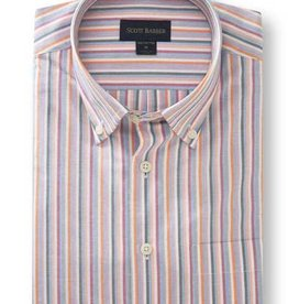 Scott Barber White, Sky, Grey, Berry and Orange Striped Shirt