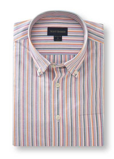 Scott Barber White, Sky, Grey, Berry and Orange Striped Shirt