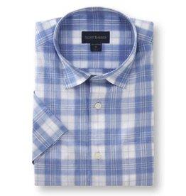 Scott Barber Chelsea Plain Weave Shirt in White, Melange Blue and Taupe