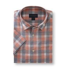 Scott Barber Textured Plaid Shirt in Navy, Orange and White