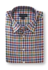 Scott Barber Linen Check Shirt in Multi-Colors