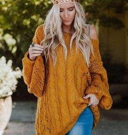 THREE BIRD NEST Mustard Cable Knit Sweater