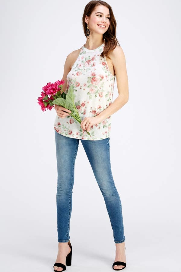 Twenty Second Sleeveless Floral Halter Top