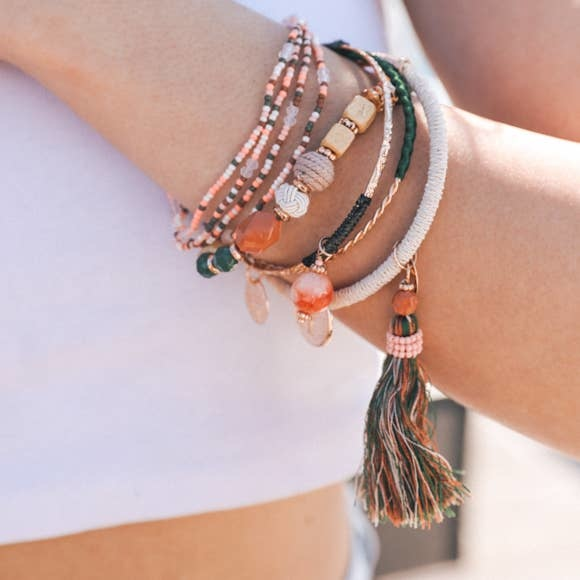 moroccan stack bead charm bracelet
