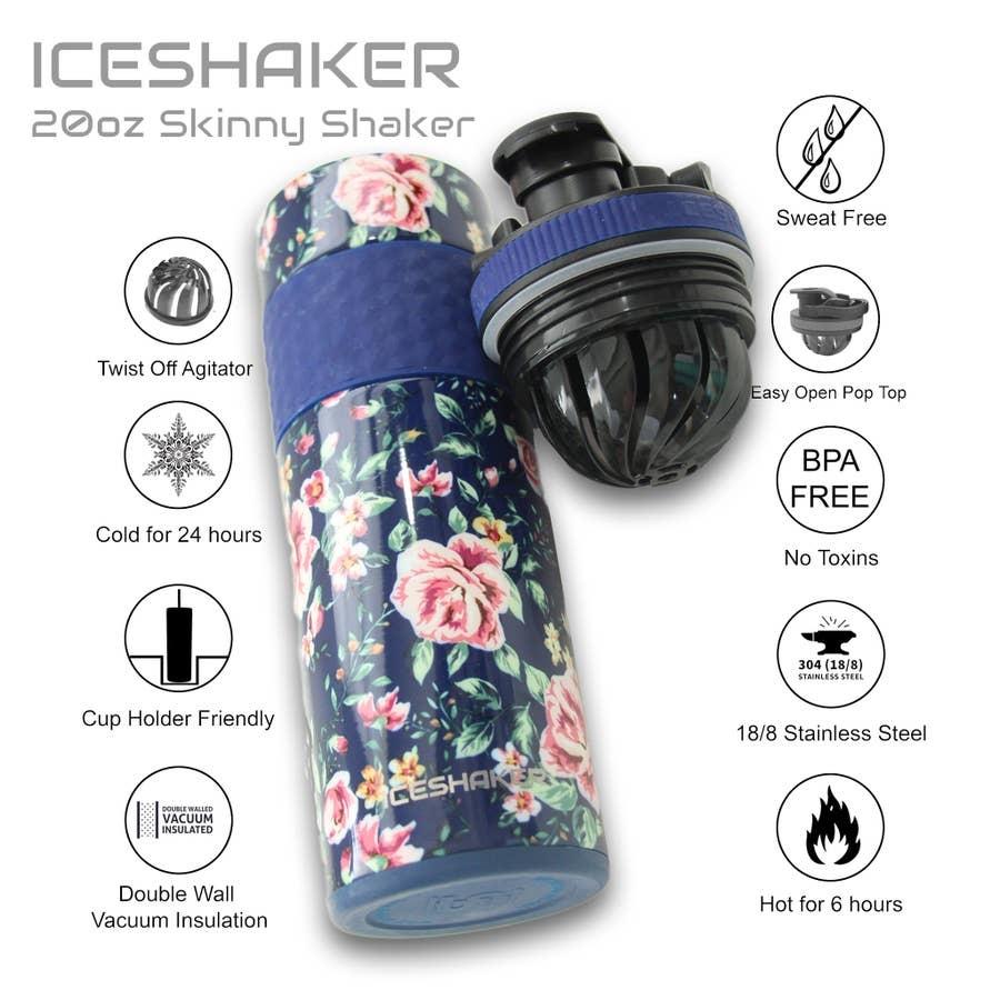 Ice Shaker IS 20 OZ SKINNY NAVY FLORAL SHAKER BOTTLE