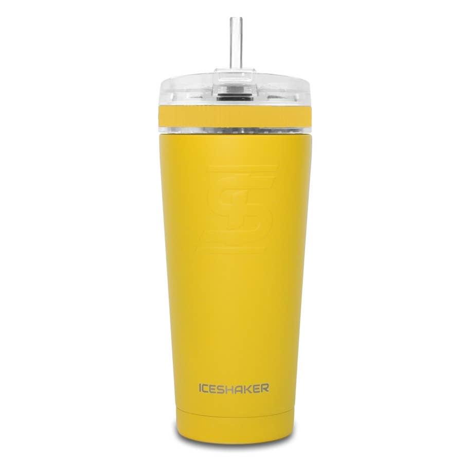Ice Shaker IS 26 OZ YELLOW STRAW BOTTLE