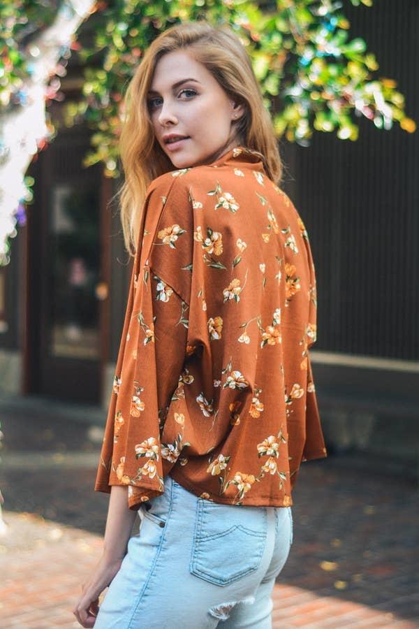carnation flower kimono camel
