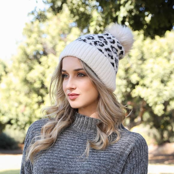 westbound clothing company Leopard print beanie