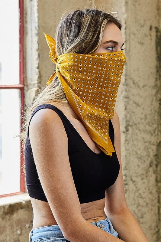Westbound Clothing Company mustard daisy flower field bandana