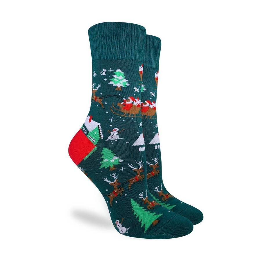 Good Luck Sock gl santa on a sled