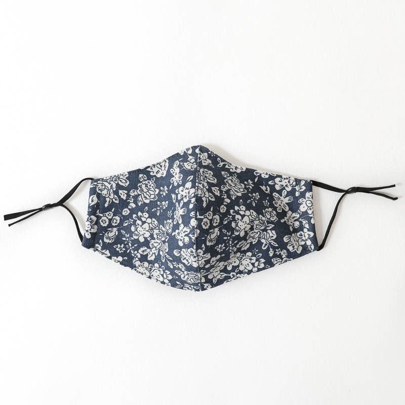 leto Navy Floral Mask: Fits Most