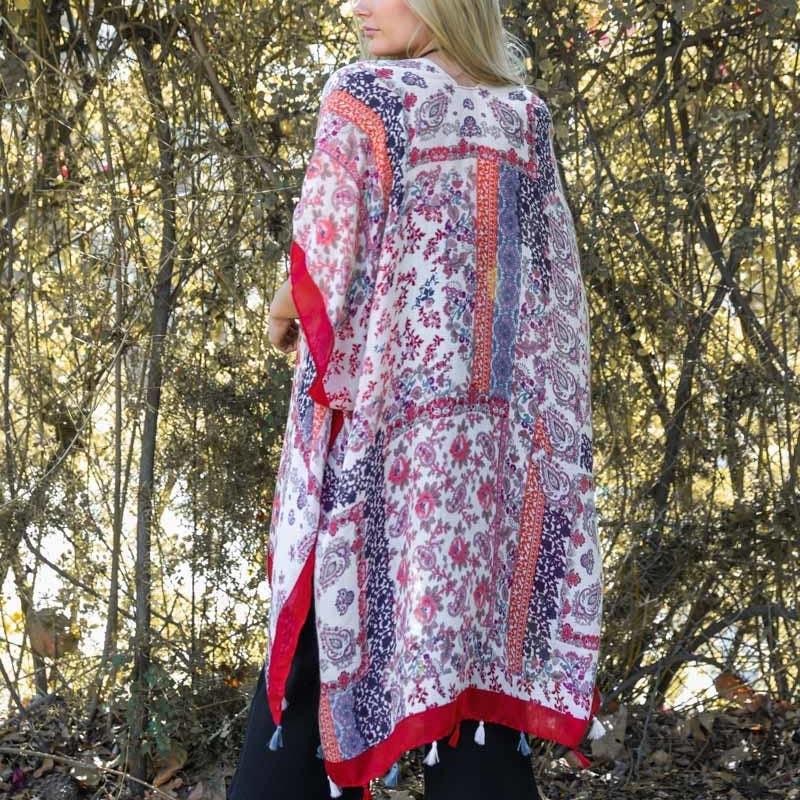 leto Patchwork Kimono Red