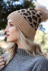 leopard print beanie tan