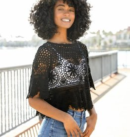 Westbound Clothing Company black crochet top
