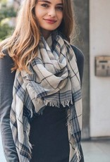 navy check scarf light